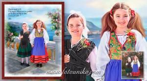 asturias, traje regional, oleo, oleografia, cuadro, lamina, recuerdo, dia de asturias, niña, retrato, regalo, el regalo, homenaje, recuerdo