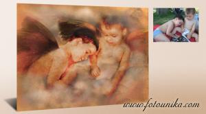 Versión de Angeles de Rafael Sancio en La Madonna Sistina, cuadro al óleo,regalo perfecto y original,unico