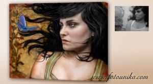 idea de regalo original, un oleo de fantasia con el retrato de mujer version mitológica