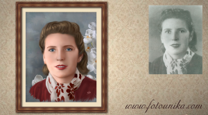 dibujo oleo mujer de foto antigua para regalo