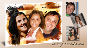 sorpresa para regalar,cuadro de familia sobre paisaje de playa