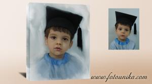 Retrato al oleo sobre lienzo con bastidor,orla de graduado,para decorar