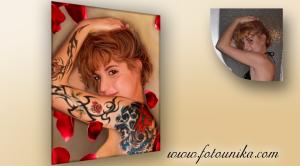 Sorpresa,regalo ideal,retrato al oleo estilo pin up,tattoos eróticos