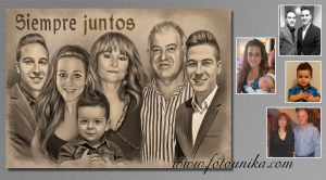 detalle padres de dibujo estilo carboncillo de la familia como regalo el dia de bodas