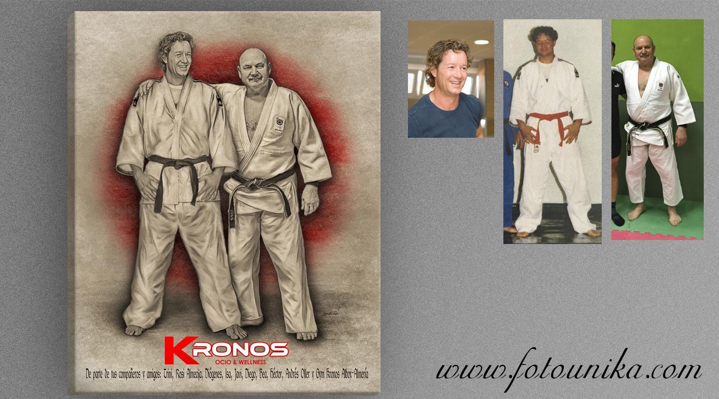 cuadro, cuadro personalizado, regalo, el regalo, carboncillo, carboncillo digital, karate, homenaje, deporte, taikongo, yudo, arte marcial