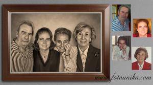 carboncillo, carboncillo digital, retrato, retrato familiar, cuadro, cuadro personalizado, lamina, homenaje, recuerdo, regalo, el regalo, obsequio, familia, emotivo, original