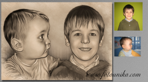Regalo dibujo carboncillo niño evolucion para recordatorio de comunion