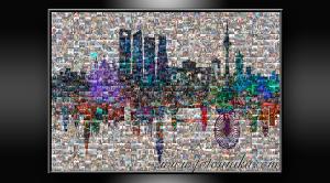 multifotos, mosaico, skyline, skyline londres, londres, skyline madrid, madrid, regalo, el regalo, homenaje, cuadro, lamina, recuerdo, miniaturas, collage de fotos, collage