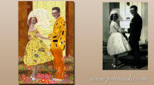 Regalo dibujo oleo pareja bodas Klimt
