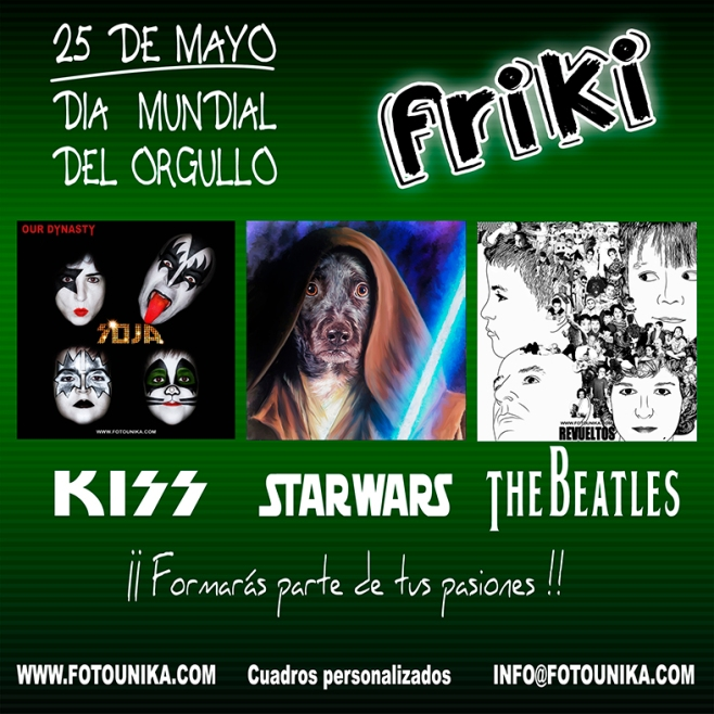 friki, frikis, regalo, el regalo, cuadro, cuadropersonalizado, lamina, oleo, carboncillo, pop art, arte pop, comic, fotomontaje, multifotos, mosaico, restauracion de fotos antiguas, coloreado de fotos antiguas, collage, kiss, starwars, thebeatles, original, unico, diferente