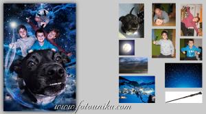 fotomontaje, fotomanipulacion, arte digital, fantasia, magia, regalo, original, unico, volar, familia, felicitacion, navidad