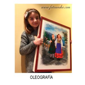 oleo, oleografia, cuadro, cuadro personalizado, lamina, arte digital, regalo, el regalo, original, asturias, traje regional, niñas, niñas asturianas, niña asturiana, costumbre