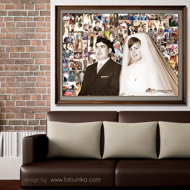 bodas de oro, boda de oro, aniversario de bodas, aniversario, pareja, celebracion, regalo, sorpresa, lamina, cuadro, collage, collage personalizado, mosaico, recuerdo, homenaje, original, unico