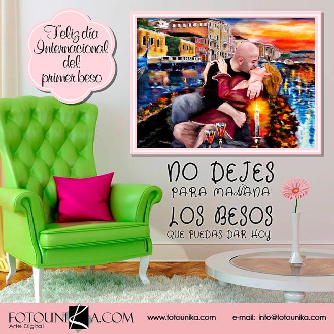beso, kiss, dia internacional del primer beso, pareja, enamorados, cuadro, cuadro personalizado, lamina, oleo, oleografia, regalo, el regalo, original, unico, diferente, homenaje, sorpresa, arte digital