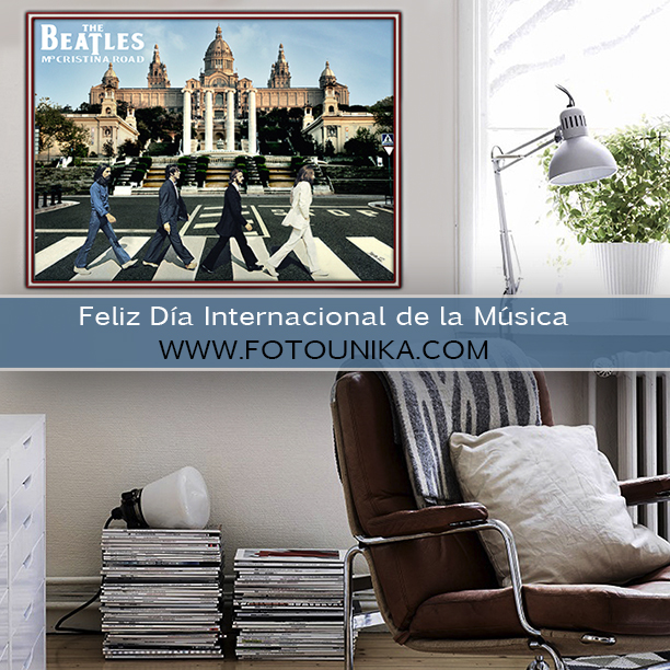 dia internacional de la musica, musica, the beatles, abbey road, barcelona, maria cristina road, homenaje, version, arte digital, fotomontaje, fotomanipulacion, grupo musical, 1 de octubre