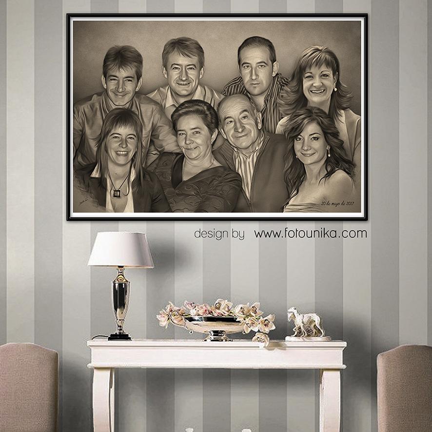 boda, bodas, regalo de bodas, detalles para los padres, detalles bodas, detalles familia, retrato familiar, retrato, carboncillo, cuadro, cuadro personalizado, lamina, familia, regalo, el regalo, obsequio, original, homenaje, arte digital, decoracion