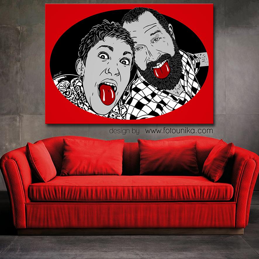 arte pop, pop art, ARTe POP, vector, dibujo vectorial, dibujo vector, comic, lamina, cuadro, cuadro personalizado, regalo, el regalo, original, unico, desenfadado, diferente, paris, recuerdo, pareja, retrato, rojo, decoracion, arte digital