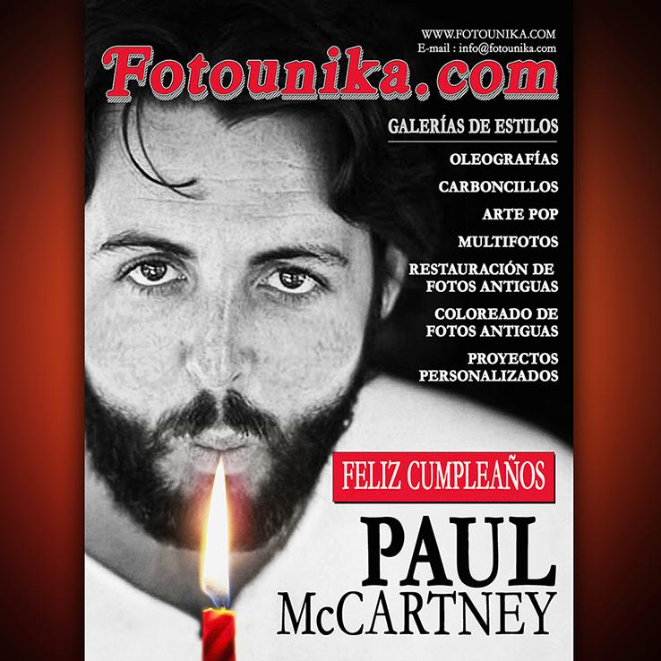 Paul McCartney, los Beatles, homenaje, happy birthday, feliz cumpleaños, oleo, oleos, oleografia, carboncillo, carboncillos, pop art, arte pop, multifotos, mosaico, collage, retoque fotografico, restauracion de fotos antiguas, coloreado de fotos antiguas, comic, comics, comic personalizado, montaje, montajes, montaje fotografico, cuadro, cuadros, cuadros personalizados, arte digital
