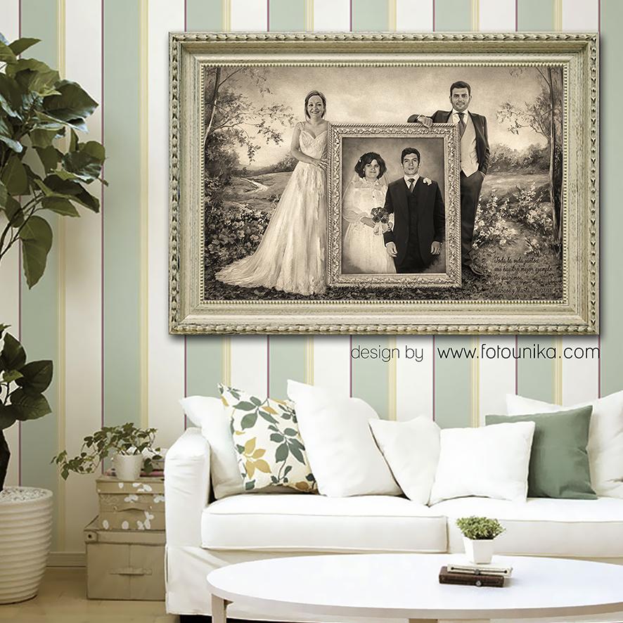 boda, regalo de bodas, regalo para los padres, detalles, detalles para los padres, padres, foto boda padres, suegros, carboncillo, dibujo a lapiz, cuadro, cuadro personalizado, recuerdo, obsequio, retrato, retrato familiar, homenaje, emotivo, original, arte digital, hecho a mano