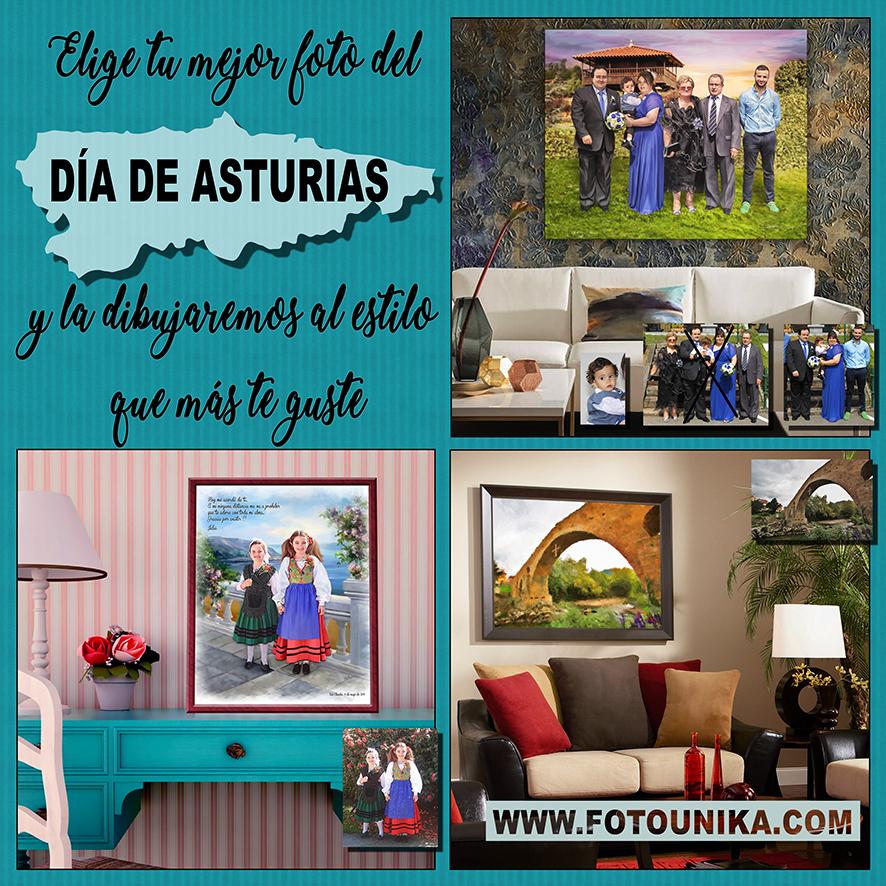 asturias, dia de asturias, 8 de septiembre, cuadro, cuadro personalizado, lámina, homenaje, recuerdo, oleo, oleografía, familia, amigos, puente, traje regional, cruz de la victoria, regalo, el regalo, recuerdo, especial, unico